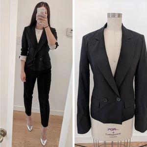 BCBG Black Double Breasted Wool Stretch Blazer -XS